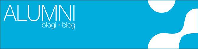 Alumni blogs' turquoise cover image with Samk logo.