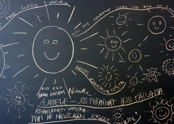 A sun board drawn on a chalkboard