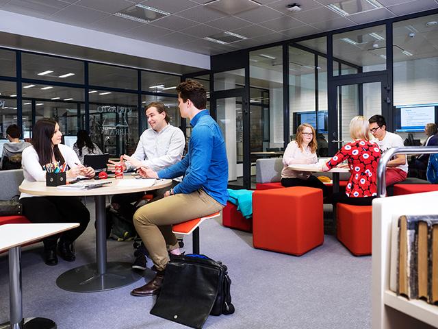 Opiskelijoita Rauman kampuksen kirjastossa tekemässä projektitöitä.