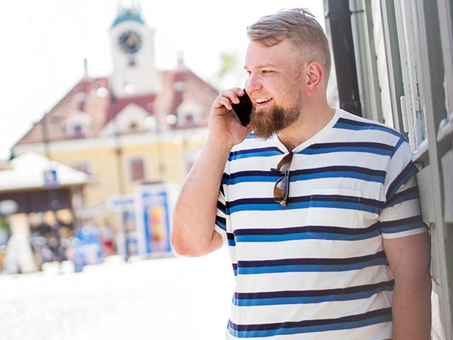 SAMKin opiskelija Rauman keskustassa kesällä.