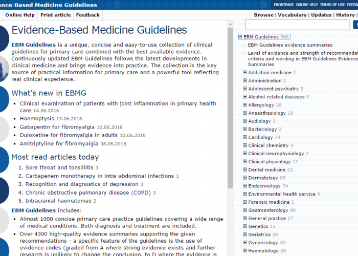 EBMG Evidence-Based Medical Guidelines, näytönkaappaus, screenshot