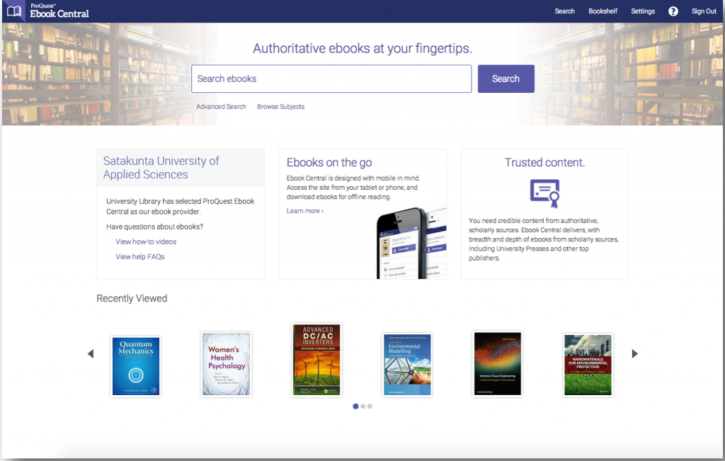 Ebook Central home page