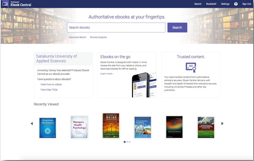 Ebook Central, näytönkaappaus, screenshot