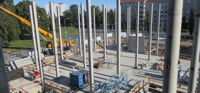 SAMK-kampus Porin perustat rakennusvaiheessa.