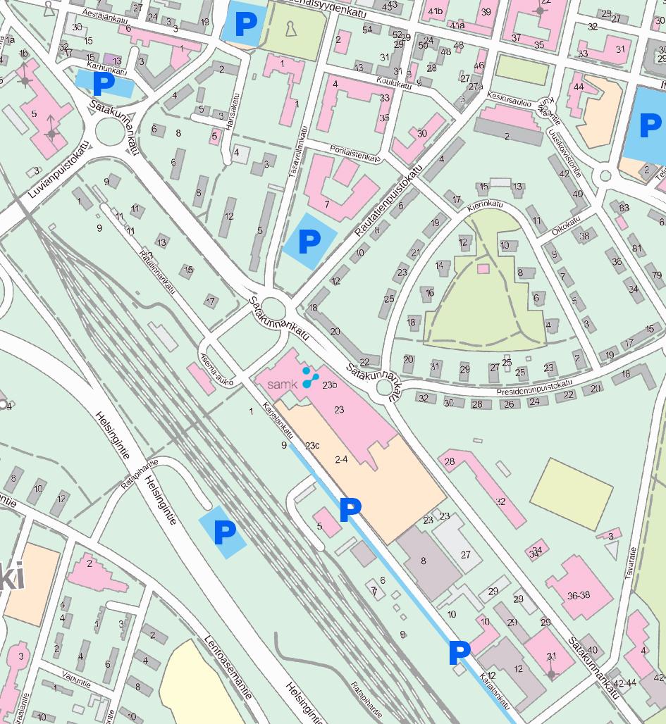 SAMK-kampus Porin pysäköintipaikat kartalla.
