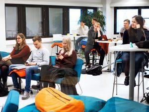 International students attending a class at SAMK campus Rauma.
