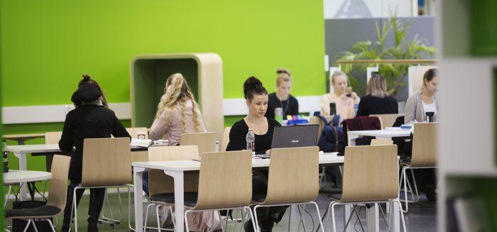 Opiskelijoita SAMKin Porin kampuksen kirjastossa