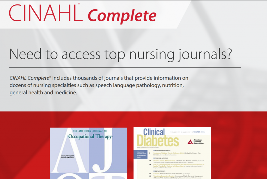 CINAHL Complete, Need to access top nursing journals.