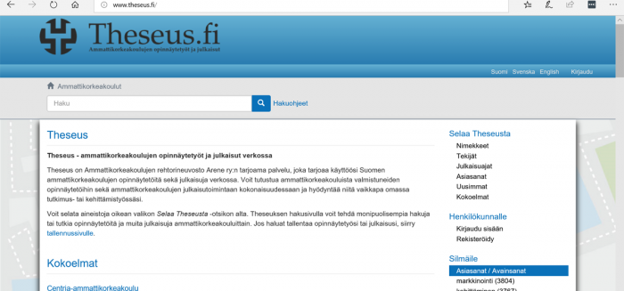 Theseus.fi, näytönkaappaus, screenshot.