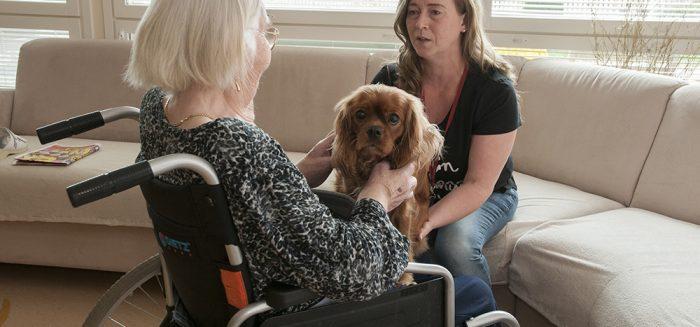 Laura Löppönen silittää koiraa ja juttelee Kultaruskon asukkaan kanssa.