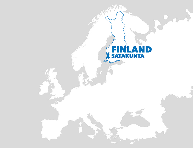 Finland and Satakunta on a map.