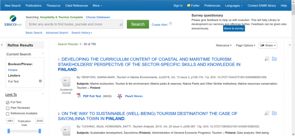 Ebsco Hospitality & Tourism Complete, näytönkaappaus, screenshot.