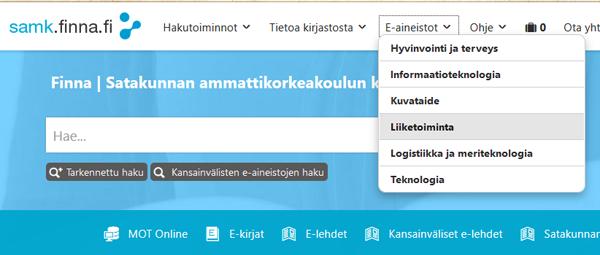 Liiketoiminnan e-aineistot Finnassa, näytönkaappaus, screenshot.