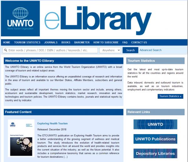 UNWTO eLibrary, näytönkaappaus, screenshot.
