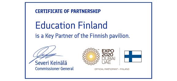 Education Finland logo in Expo 2020 Dubai.