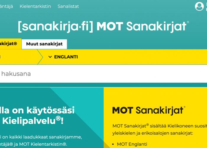 MOT Sanakirjat, näytönkaappaus, screenshot.