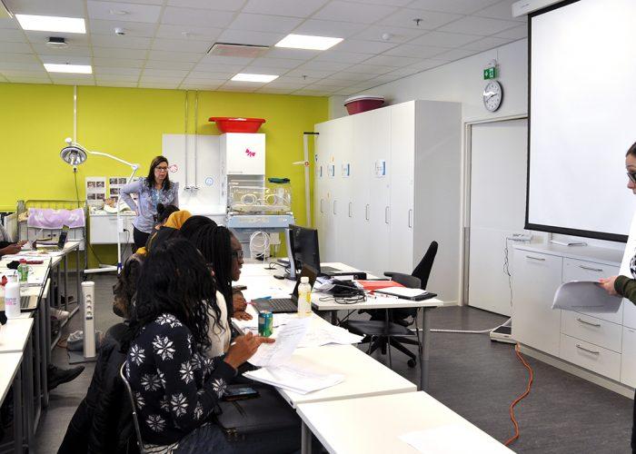 International nursing student group in a classroom at SAMK-campus Pori.