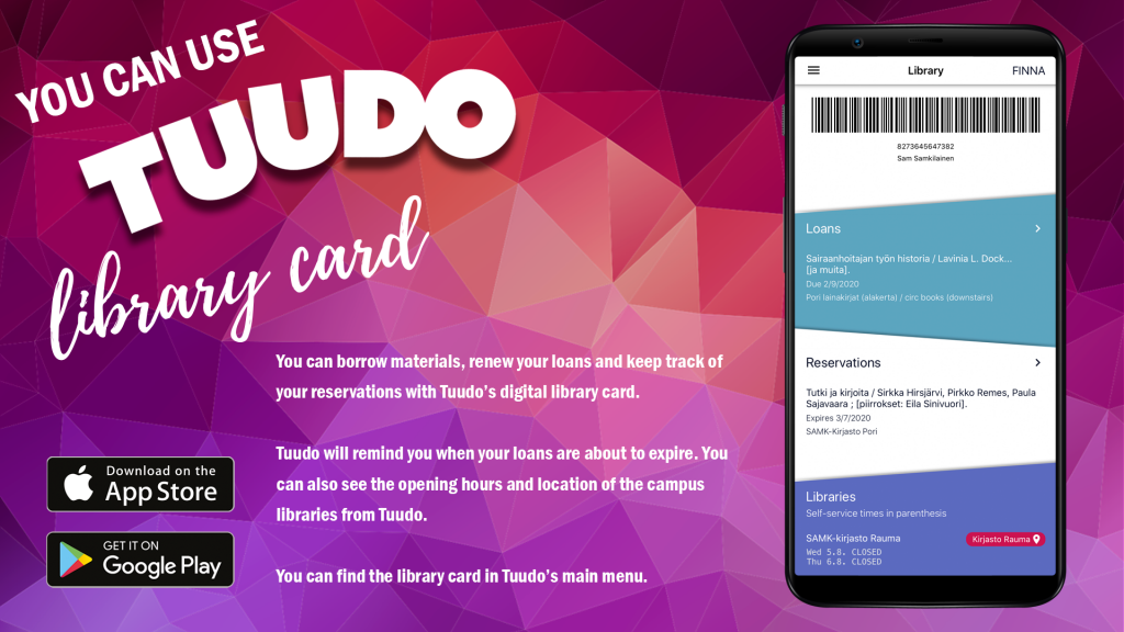 You can use Tuudo library card.