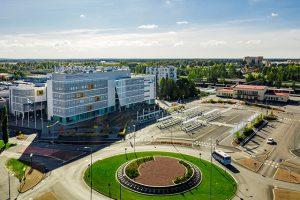 Aerial view, SAMK-campus Pori building.