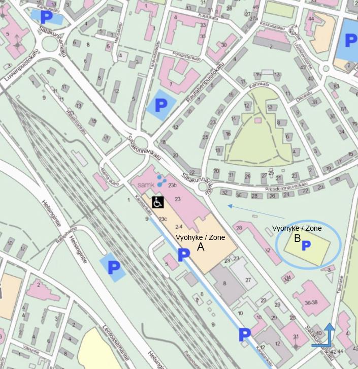 Kartta Porin kampuksen läheisyydessä olevat pysäköintialueet.