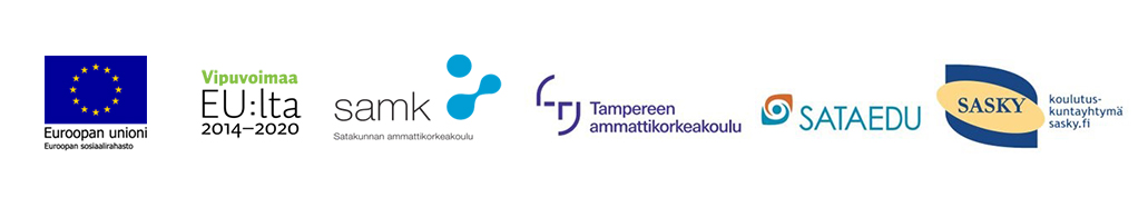 Yhteistyökumppanien, EU, Vipuvoimaa, SAMK, TAMK, Sataedu ja Sasky logot..