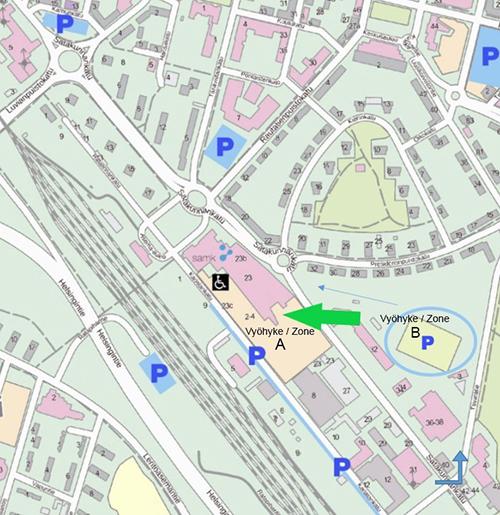 Kartta pysäköintipaikoista SAMK-kampus Porissa