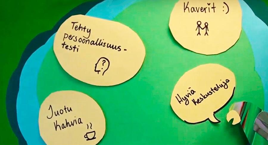Muisti lappuja seinällä teksteillä: Tehty persoonallisuustesti, hyviä keskusteluja, juotu kahvia ja kaverit.