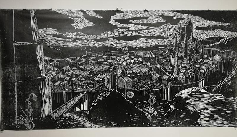Mustavalkoinen grafiikan työ Ensimmäinen utopia, Antti Alavilo