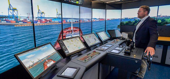Marko Löytökorpi driving maritime simulator.