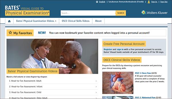 Bates' visual guide to physical examination website screenshot.