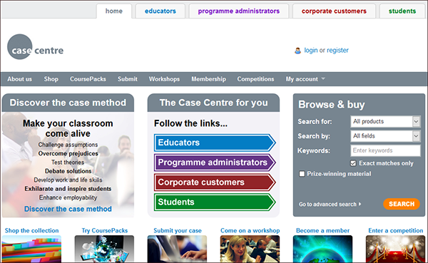 The Case Centre website screenshot.