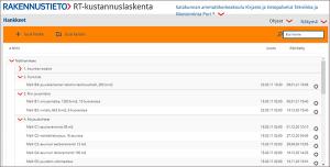 Rakennustiedon RT-kustannuslaskenta-verkkosivun näytönkaappaus.