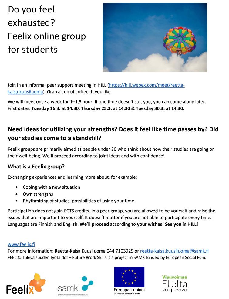 Feelix student group ad.